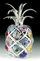 "SWAROVSKI COLORED CRYSTAL ELEMENTS ""PINEAPPLE"" FIGURINE SILVER PLATED"