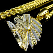 YELLOWG/P STAINLESS NATIVE INDIAN TRIBE CHIEF PENDANT FACE CHARM CHAIN NECKLACE