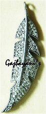 Superb Handcrafted Pave Rose Cut Diamond 925 Silver Fern Leaf Pendant