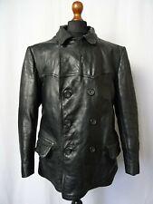 Men's Vintage Suédois Années 1940 Horsehide Leather Sports Veste De Moto 42R (M)