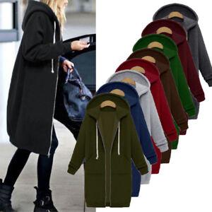Fashion Women Zipper Open Hoodie Sweatshirt Long Coat Jacket Tops Outwear