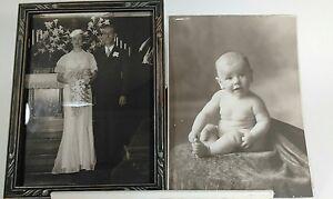 VNTAGE 1936 WEDDING PHOTO IN OLD WOODEN FRAME