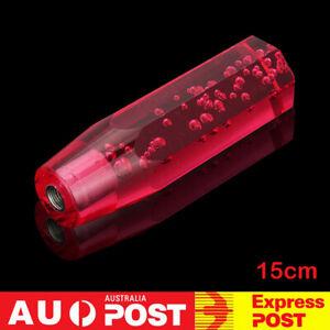 "150mm Crystal Air Bubble Manual Shift Knob Octagon Acrylic Shifter Gear 5.9"" Red"