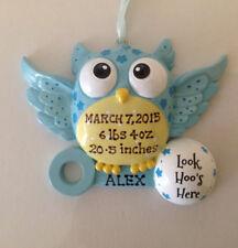 Personalized Blue Owl Baby Boy's First Christmas Ornament Newborn Grandchild