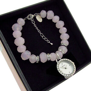 Henley Faceted Bead Pink Crystal Bracelet Watch New Boxed H07.192.5