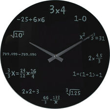 Wanduhr Mathe Uhr Glas 35cm Mathematik Mathematic Mathe-Formeln Student Schwarz