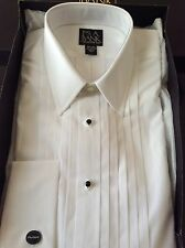 NEW WHITE JOS A BANK FRENCH CUFF TUXEDO WEDDING PROM Dress Shirt-151/2 x 36