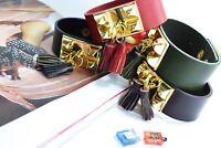Leather Bracelet Wristband Cuff Tassels Fringe Stud Bangle Ladies Womens Jewelry