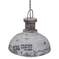 Vintage Industrial Rustic White Pendant Light Metal Shade Lamp Hanging Ceiling