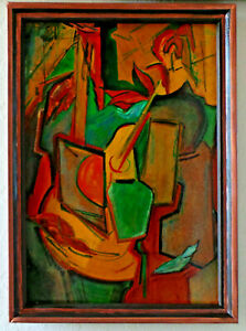 STILL LIFE WITH A GUITAR - ABSTRACTION. OIL ON WOODEN BOARD. YUDICE BELENKIE.