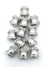 12 Christmas Bell Ornament European Beads Bulk Wholesale Lot Stainless Steel