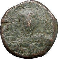 JESUS CHRIST Class B Anonymous Ancient 1028AD Byzantine Follis Coin CROSS i48281