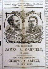 Rare 1880 Lebanon NEW HAMPSHIRE newspaper illustrated GARFIELD FOR PRESIDENT ad