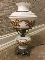 Vintage Gone With The Wind Hurricane Lamp & Globe Floral Stunning