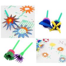 Kids DIY Painting Tools 4PCS Flower Stamp Sponge Brush Set Art Supplies Tool