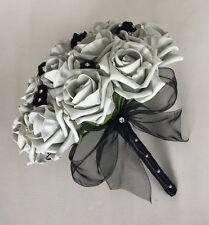 WEDDING FLOWERS ARTIFICIAL BLACK SILVER FOAM ROSE WEDDING BOUQUET BRIDESMAID