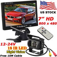 "12V-24V Bus Van Truck Rear View Kit 7"" Digital HD LCD Monitor +IR Backup Camera"