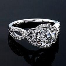 1.22 CT ROUND CUT NATURAL DIAMOND HALO ENGAGEMENT RING 14K WHITE GOLD ENHANCED