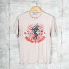 Rage Against The Machine Big Print Rock Band Band Vintage T-Shirt Beige Size M