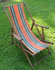 Vtg Wood Folding Ship Deck Chair Armchair Striped Canvas Beach Patio Original