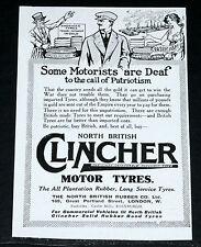 1916 OLD WWI MAGAZINE PRINT AD, NORTH BRITISH CLINCHER MOTOR TYRES, PATRIOTISM!
