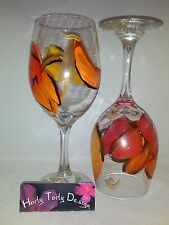 2 Hand-Painted Large Fall Leaves Wine Glasses