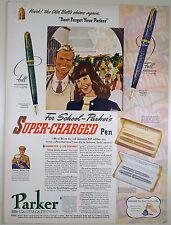 Vintage 1941 PARKER VACUMATIC Fountain Pen Full Page Print Ad: DEBUTANTE, MAXIMA
