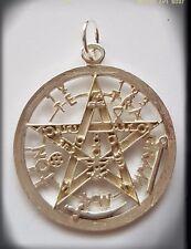 Tetragrammaton pentagram 925 Sterling Silver  pagan wicca Pendant Plata esoteric