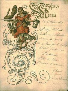 Menu ancien du 19 octobre 1884 au dos Mademoiselle Gabrielle Briez