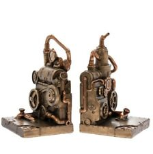 NEW PAIR of HEAVY BRONZED EFFECT STEAMPUNK INDUSTRIAL BOOK ENDS/BOOKENDS BNIB