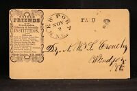 New Hampshire: Newport 1854 United Friends Institute Stampless Advertising Cover