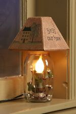 """ELECTRIC CANDLE JAR LIGHT LAMP """"BLESS OUR HOME"""" WOODEN SHADE 5 1/4"""" W x 10 1/4"""""""