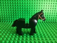 Lego mini figure 1 Brown horse with red bridle painted mane and movable head