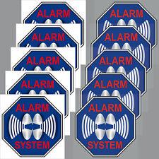 5+5 Aufkleber 5cm blau Sticker Alarm System Set für Innenseite Fenster Tür