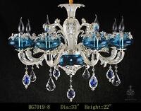 8 Arms Blue Zinc Alloy Crystal Chandelier Ceiling Pendant Fixtures Crystal Light