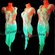 Women Ballroom Latin Rhythm Salsa Dance Dress US 10 UK 12 Flesh Green Beads