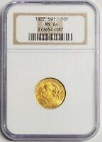 1922 B 10F Switzerland Gold Ten Francs NGC MS64 (KM-36) .0933oz Gold *RARE*