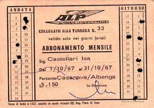 1967 TESSERA AUTOBUS AUTOSERVIZI LENGUEGLIA PAOLO ALBENGA LIGURIA 1-132