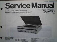 PANASONIC SG-V03 Stereo Music Centre unit Service manual wiring parts diagram