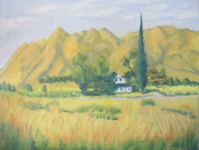 "Authentic mid century OIL PAINTING Landscape SIGNED 30"" X 24"" ITALIAN CYPRESS"