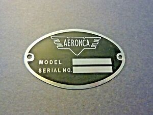 """Aeronca DEA Required """"Aircraft Identification Data Plate"""" Etched Stainless Steel"""