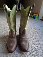 Women's Ariat, Brown & Green Leather, Western, Cowboy Boots, Size 7 B