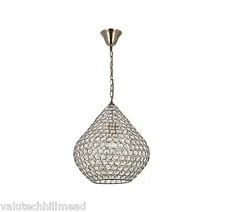 Endon Lighting Borbero 1 Light Ceiling Pendant - Antique Brass/ Clear - 38cm Dia