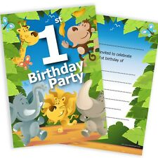 1st Birthday Party Jungle Invitations - Ready to Write with Envelopes (Pack 10)