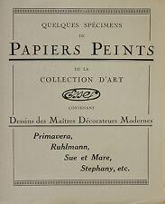 Art Deco Wall paper flyer booklet, Primavera Ruhlmann Sue&Mare, Circa 1930