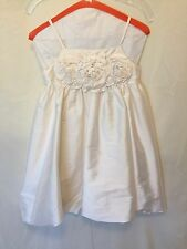 Us Angels White Flower Girl Special Occasion Dress Empire Waist 3D Roses Size 10