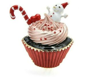 Adorable Christmas Pin, Cupcake With Candy Cane and Snowman,