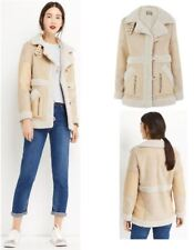 Womens Premium Faux Fur Shearling Coat Biker Jacket Aviator Branded Warm RRP £89