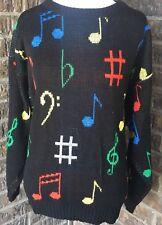 Vtg Aim Albert Elovitz Black Sweater S Musical Note Music Artsy Art To Wear #F13