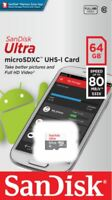 64GB SanDisk Ultra micro SD SDXC UHS-I Mobile Memory Card 80MB/s TF Class 10